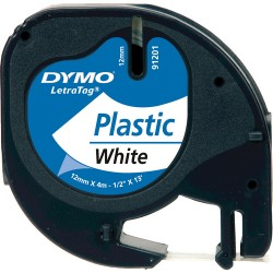 Dymo Letratag Plastik Etiket 12mm X 4 Metre Beyaz