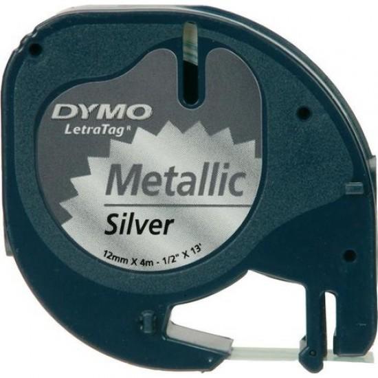 Dymo Letratag Metalik Etiket 12mm X 4 Metre Gri