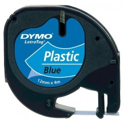 Dymo Letratag Plastik Etiket 12mm X 4 Metre Mavi