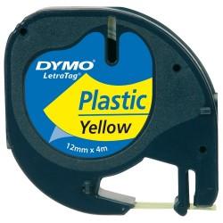 Dymo Letratag Plastik Etiket 12mm X 4 Metre Sarı