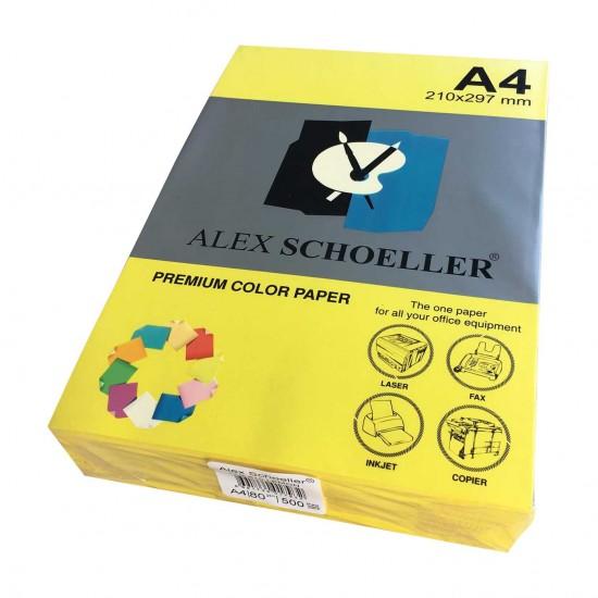 Alex Schoeller A4 Renklli Fotokopi Kağıdı 80g/m2 Açık Sarı 500' Lü
