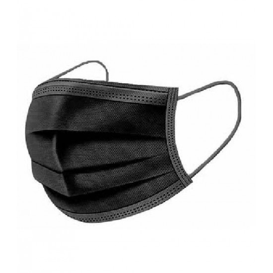 Siyah 3 Katlı Cerrahi Maske Telli 50' Li