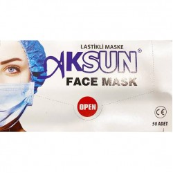 Aksun 3 Katlı Burun Telli Cerrahi Maske 50' Li (Nonwoven)