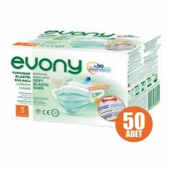 Evony 3 Katlı Yumuşak Elastik Kulaklıklı Cerrahi Maske 50'li