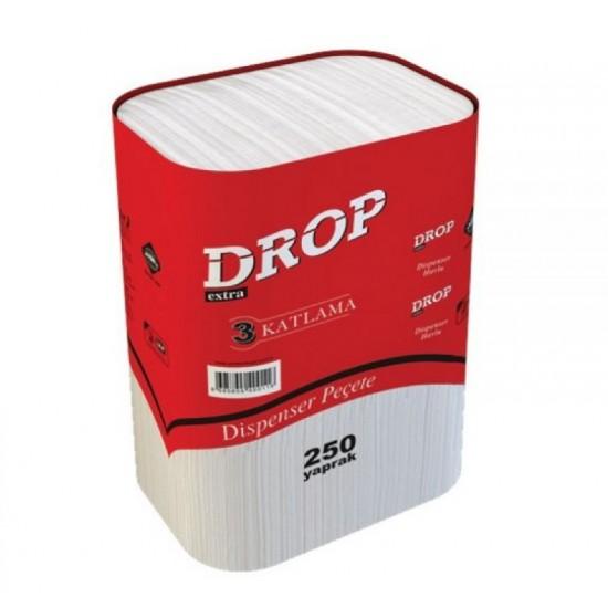 Drop 3 Katlama Dispenser Peçete 250 Yaprak 18' Li